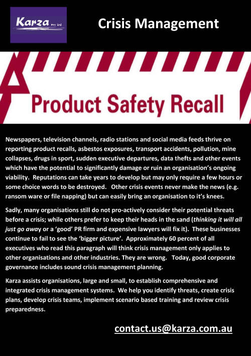 Crisis Management Product Recall